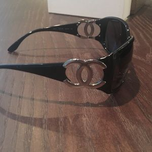 Chanel Sunglasses (Black and Silver)